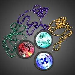 Customized Beaded Mardi Gras Flashing Medallions custom, custom medallions, customized, personalized, personalized necklace, LED necklace, lighted necklace, flashing necklace, light-up necklace, medallion necklace, rolling games, give away, redemption, fundraiser, custom, festival, bar, rave