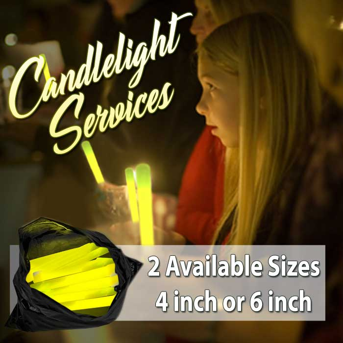 "Glowsticks for Candlelight Services (4"" or 6"")  candle light service, replacement candles, yellow glowstick, glowsticks, glow stick, glow sticks, lightsticks, light sticks, lightstick, light stick, 6-inch glowstick, 6"" glowstick"