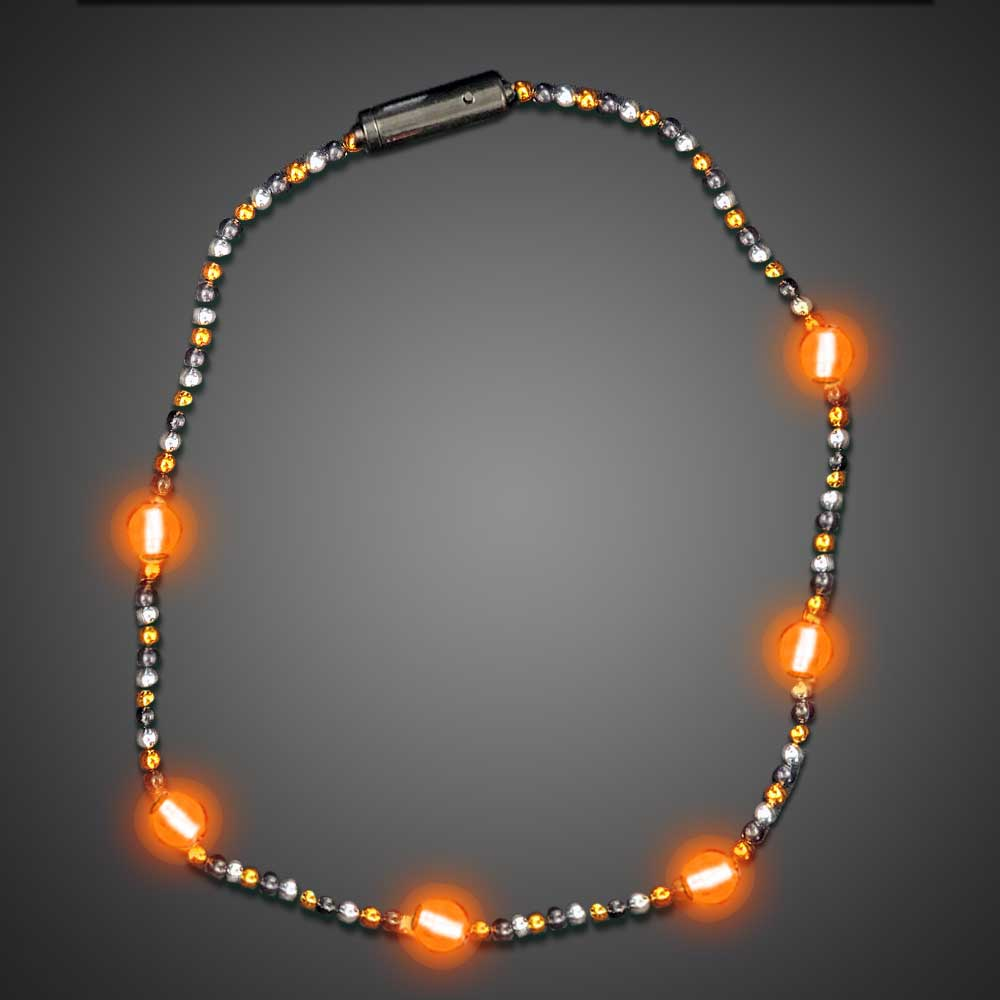 Orange LED Beaded Necklaces throw, party, kids, lighted bead strand, flashing beads, Light Up Beaded Necklace, lighted bead*, Beaded Necklace, Mardi Gras Necklace, Light Up Mardi Gras Necklace, lighted necklace, flashing necklace, party necklace, light-up necklace, halloween, pumpkin, bead
