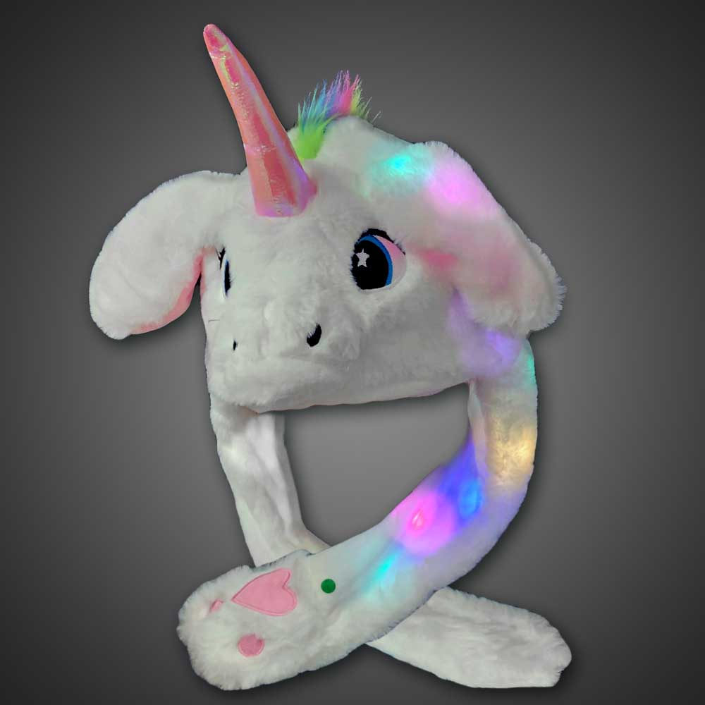 LED Unicorn Hat with moving ears unicorn, costume hat, LED Hat, Light Up Hat, Lighted Hat, Trucker Hat, Baseball Hat, LED Cap, Light up Cap, glow run, night running, sweat band, exercise, halloween, burning man, visibility, safety, cloth headband, rave, EDM, Festival