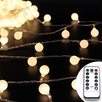 LED White Bulb Fairy Wire. 33 Feet Long 100 Warm White LEDs. Waterproof AA Battery Pack with Remote