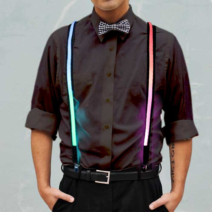 Rainbow Multicolored Light Up Suspenders Suspenders, light up wear, light up suit, light clothing, clothes, rave wear