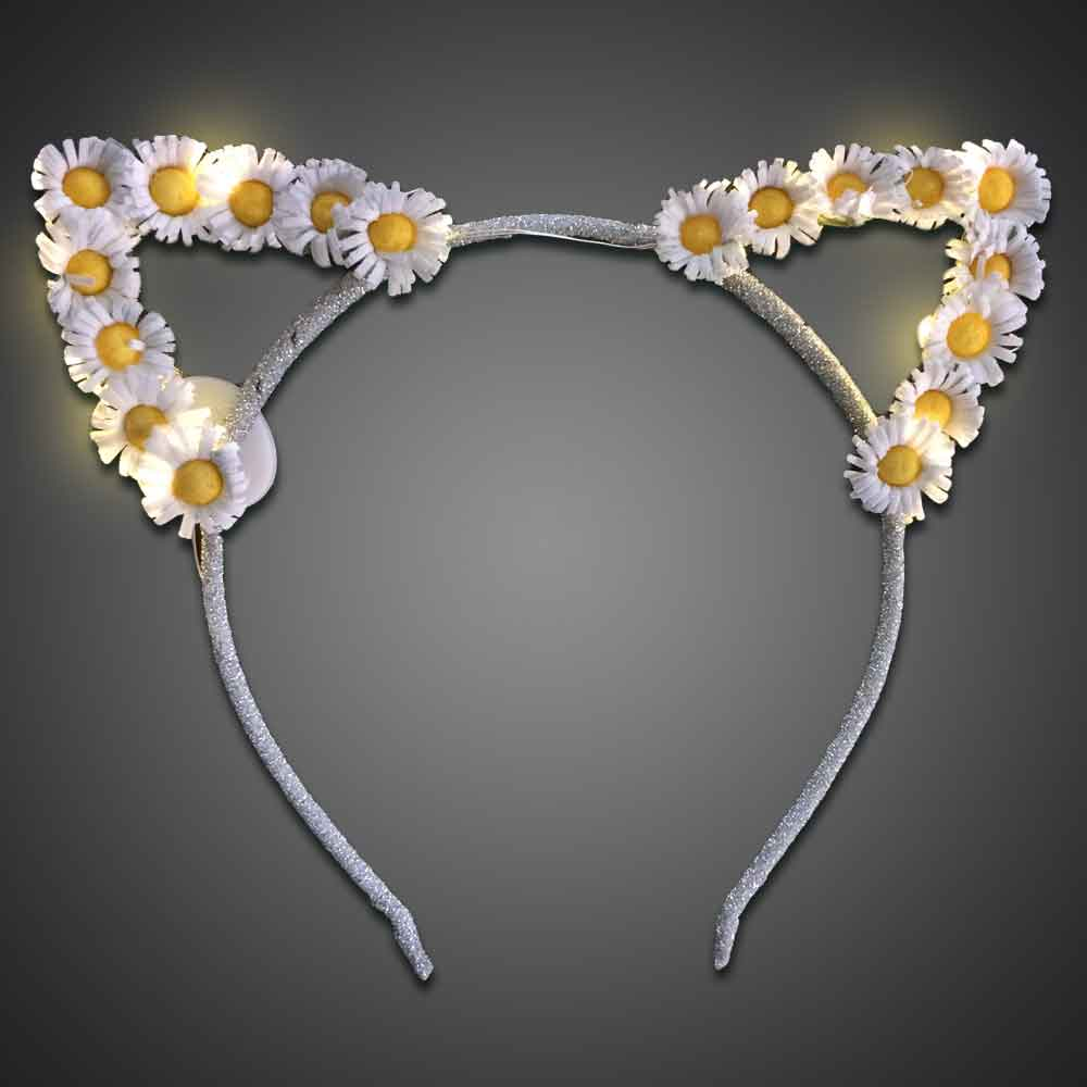 Lighted Daisy Cat Ears- CLOSE OUT cat ears, cat, headwear, boppers, led headband, edm, edc, cosplay, costume, rave, festival, burning man, daisy