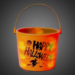 Lighted Halloween Pumpkin Bucket pumpkin, bucket, led bucket, trick-or-treat, halloween, school festival