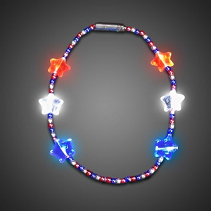 Red White and Blue Beaded Necklace throw, party, kids, lighted bead strand, flashing beads, Light Up Beaded Necklace, lighted bead*, Beaded Necklace, Mardi Gras Necklace, Light Up Mardi Gras Necklace, lighted necklace, flashing necklace, party necklace, light-up necklace, 4th of July, independence day, memorial day, patriotic
