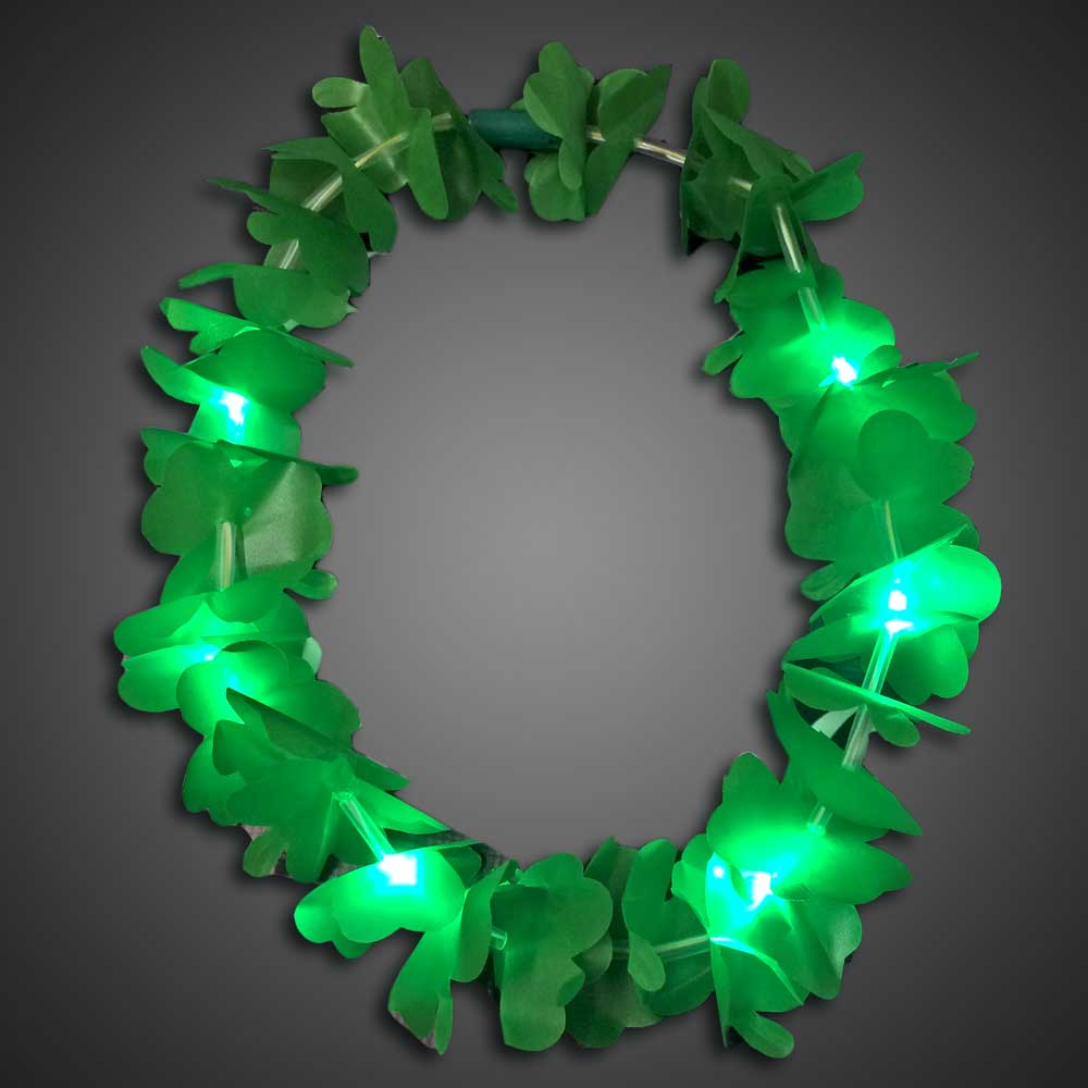St Patricks Day Shamrock Necklace throw, party, kids, lighted bead strand, flashing beads, Light Up Beaded Necklace, lighted bead*, Beaded Necklace, Mardi Gras Necklace, Light Up Mardi Gras Necklace, lighted necklace, flashing necklace, party necklace, light-up necklace, St Patricks day, St Patrick's day, St Paddys day, green