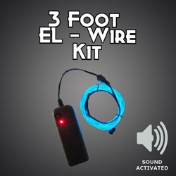 Sound Activated 3-foot EL Wire Kit electroluminescent wire, cool neon, fluorescent wire, el wire, sound activated