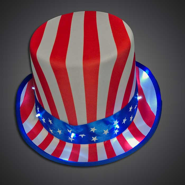 USA Uncle Sam Hat fourth of july, july 4th, patriotic, independence day, LED Hat, Light Up Hat, Lighted Hat, Trucker Hat, Baseball Hat, LED Cap, Light up Cap, glow run, night running, sweat band, exercise, halloween, burning man, visibility, safety, cloth headband, rave, EDM, Festival