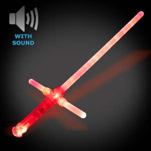 Light Up Cross Sword - CLOSE OUT cross sword, red sword, LED Sword, Lighted Sword, Flashing sword, battery-operated sword, light saber, flashing blade, light up sword, star wars, vending, kids, birthday, fundraiser