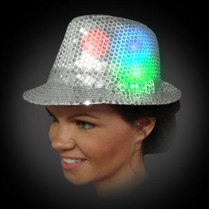 Lighted Sequin Fedora - AG13 lighted fedora, lighted hat, light up fedora, light up hat, flashing hat, blinking hat, men, ladies, women, dance, costume, new years, mardi gras, july 4th, vend, prom