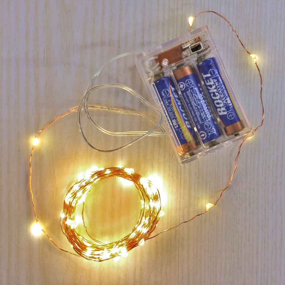 16.5 Ft Fairy Wire, 100 Warm White LEDs, Power Option: AA Battery Pack with Timer String Light with Timer, Copper wire string light, dew drop LEDs, Silver Wire string lights, gold wire string lights, Christmas