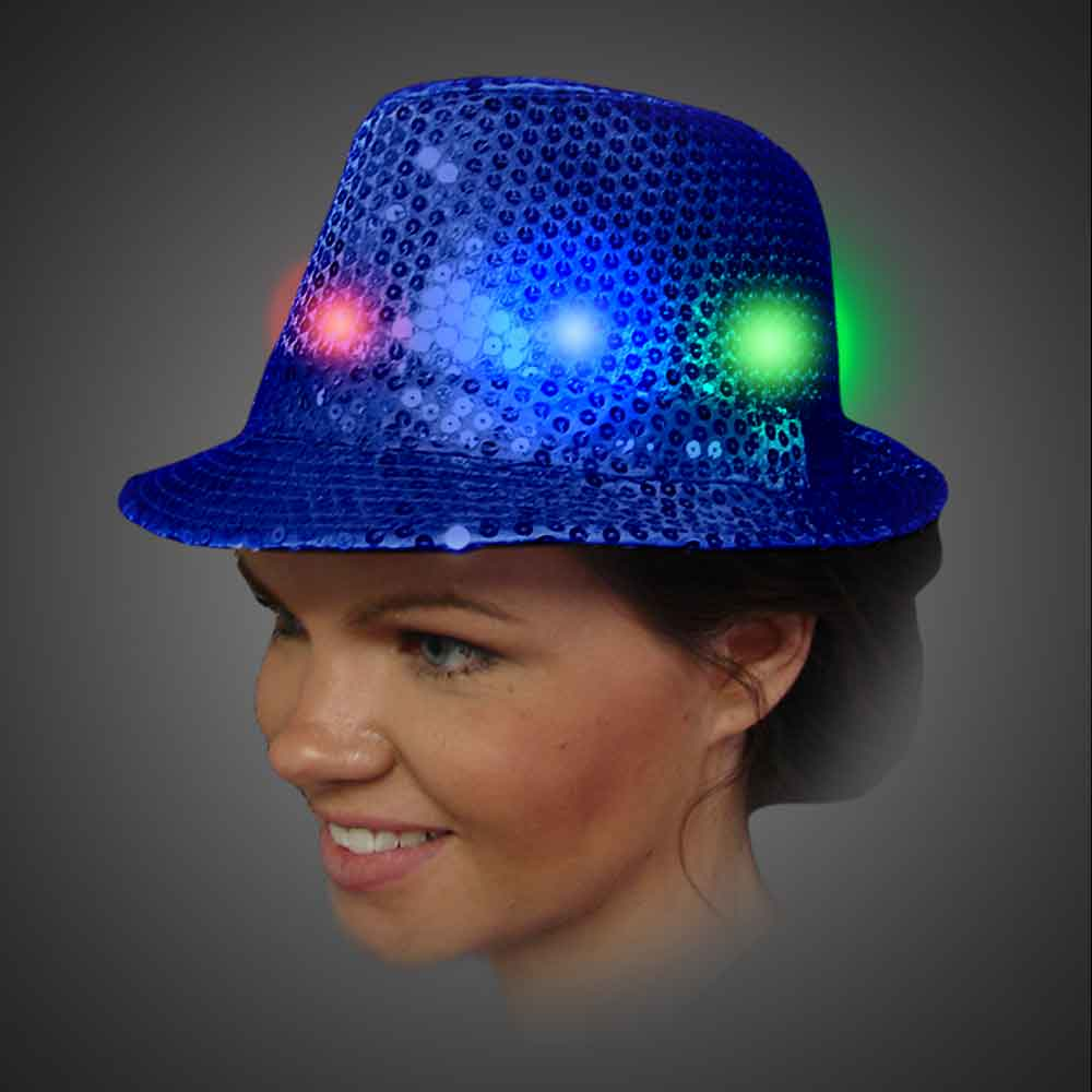 dc2c85b1d9e Lighted Sequin Royal Blue Fedora - AG13 lighted royal blue fedora