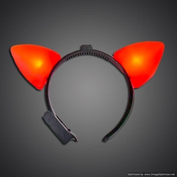 Red Lighted Cat Ears red cat ears, cat, headwear, boppers, led headband, edm, edc, cosplay, costume, rave, festival, burning man