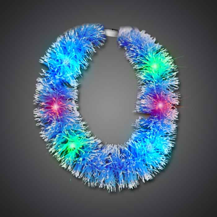 Blue Grass Lei hawaiian, mardi gras, luau, throw, give away, school, Grass Lei, Flashing Lei, Lighted Lei, light-up lei, lighted necklace, flashing necklace, party necklace, light-up necklace
