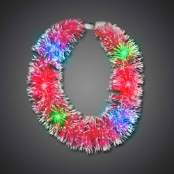 Red Grass Lei- CLOSE OUT hawaiian, mardi gras, luau, throw, give away, school, Grass Lei, Flashing Lei, Lighted Lei, light-up lei, lighted necklace, flashing necklace, party necklace, light-up necklace
