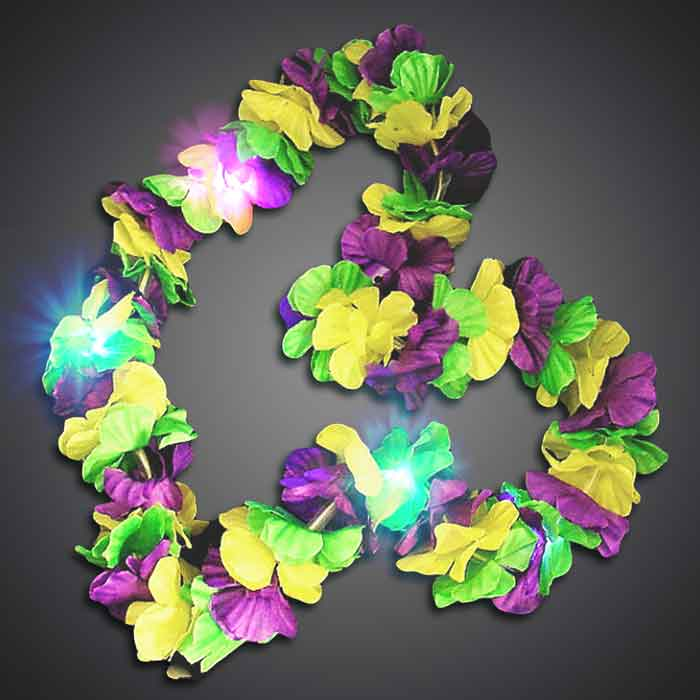 Flashing Mardi Gras Flower Lei mardi gras, Hawaiian Lei, Flashing Lei, Lighted Lei, light-up lei, lighted necklace, flashing necklace, party necklace, light-up necklace, hawaii, luau, summer, july 4th, party, mitzvah, wedding