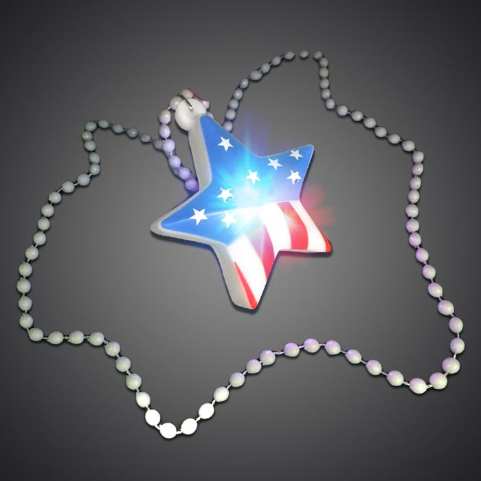 USA Flag Necklace - CLOSE OUT July 4th, American Flag, Flag, USA Necklace, USA, Led Necklace, Lighted Necklace, Light Up Necklace, Flashing Necklace, infinity necklace, star, birthday, custom, party, give away, independence day