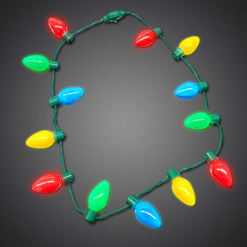 Christmas Light Necklace.Led Christmas Bulb Necklace