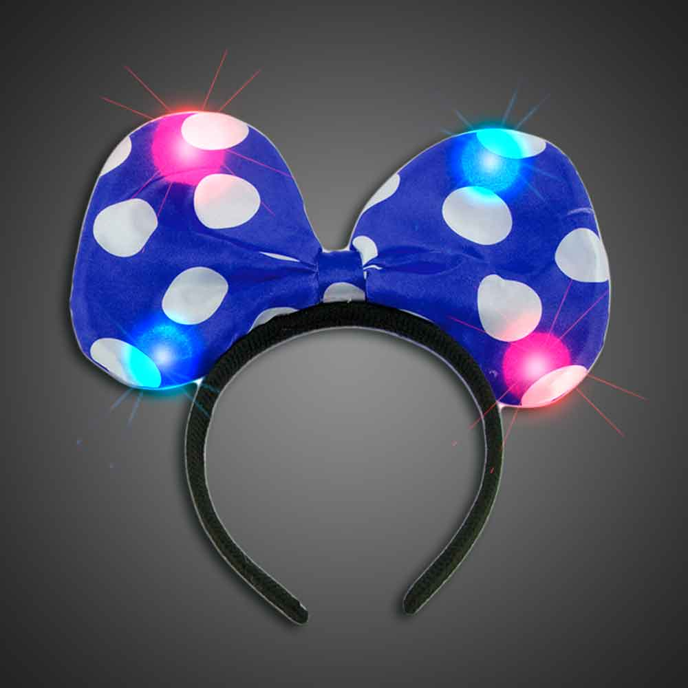 Lighted Polka Dot Blue Headbow  - CLOSE OUT lighted blue headbow, light up headbow, minnie head bow, party favor, birthday party, flashing head bow, costume, lighted head bow