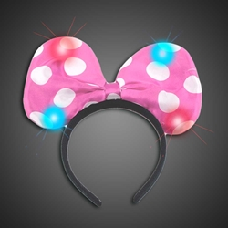 Lighted Polka Dot Pink Headbow - CLOSE OUT lighted blue headbow, light up headbow, minnie head bow, party favor, birthday party, flashing head bow, costume, lighted head bow