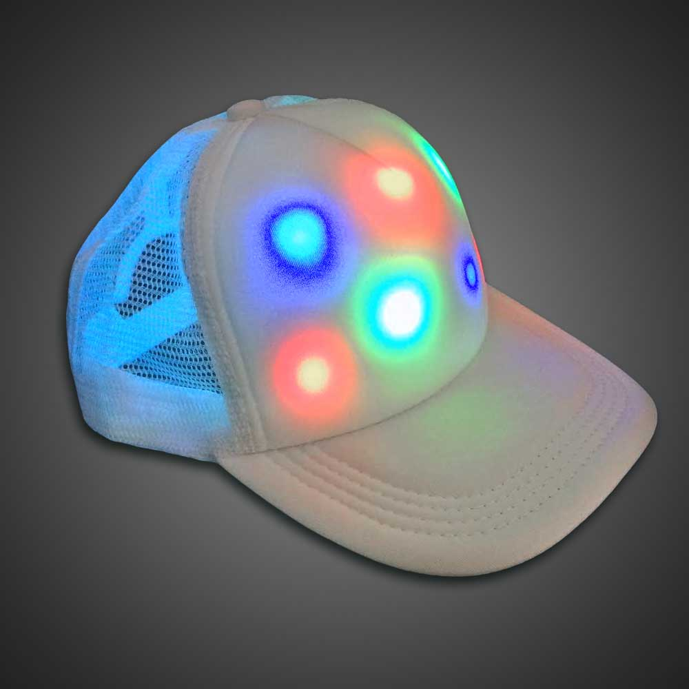LED Cap Lighted Trucker Baseball Hat LED Hat, Light Up Hat, Lighted Hat, Trucker Hat, Baseball Hat, LED Cap, Light up Cap, glow run, night running, sweat band, exercise, halloween, burning man, visibility, safety, cloth headband, rave, EDM, Festival