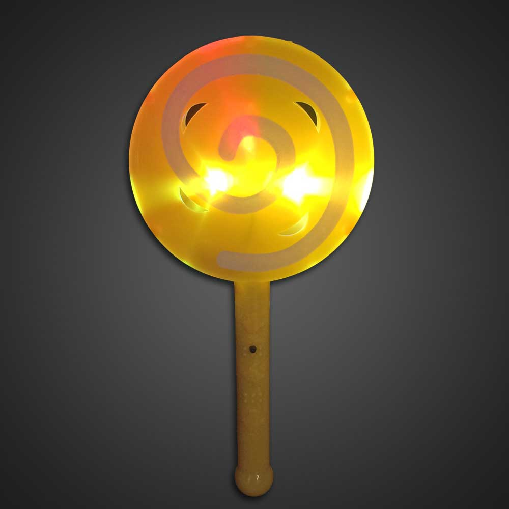 LED Flashing Lollipop Toy Yellow Plastic - CLOSE OUT LED Toy, Lighted Lollipop, Light Up Lollipop, birthday party toy, gift bag toy, flashing lollipop, kids, toys, summer