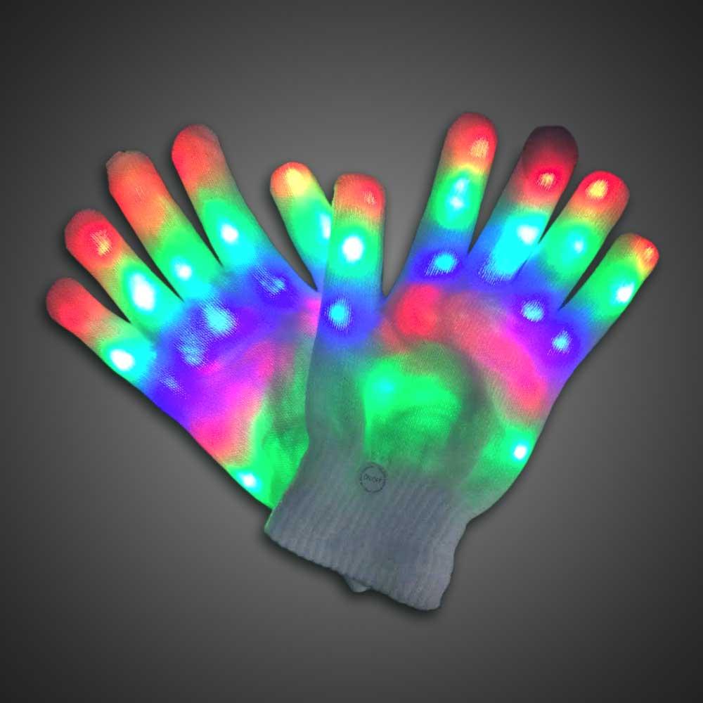 Light Up Fun Central R94 1 Pair LED Gloves LED Rave Gloves LED Finger Gloves