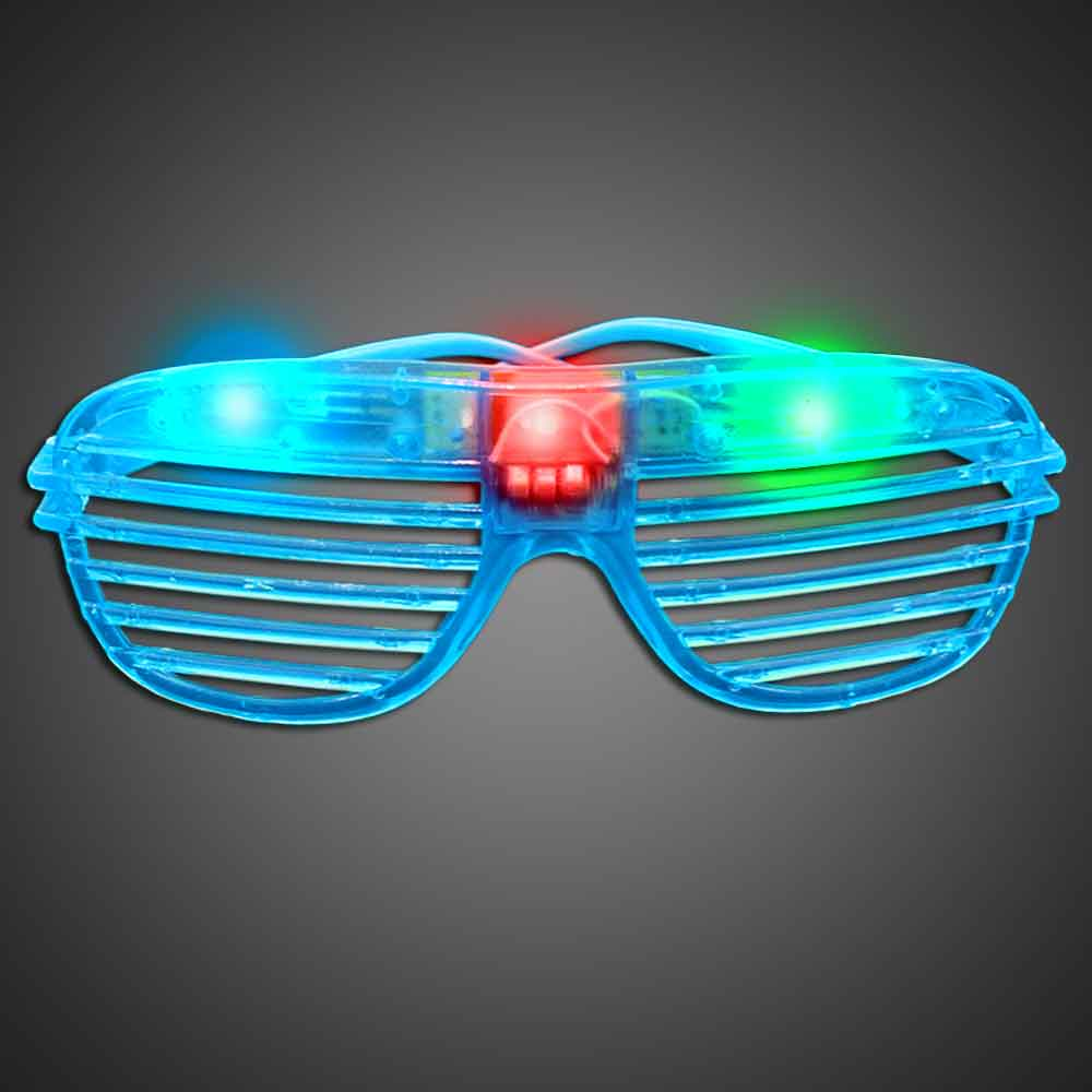 Party Sunglasses - Blue green, blue, red, purple, cheap, inexpensive, give aways, kids, party, lighted sunglasses, light up sunglasses, shutter shades, flashing sunglasses, rock star sunglasses, kanye glasses