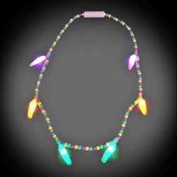 voodoo mardi gras necklace close out throw party kids lighted bead strand - Christmas Light Necklace Battery Operated