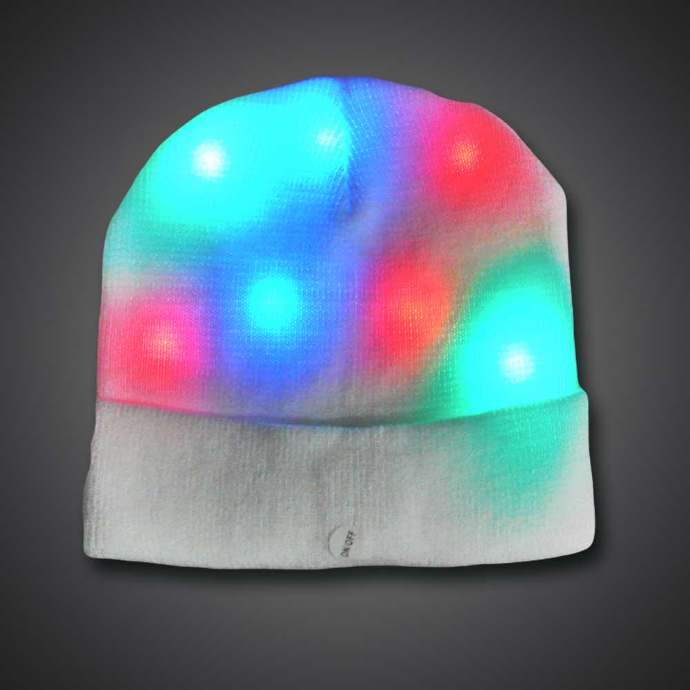 LED Beanie LED Beanie, Light Up Beanie, Lighted Beanie, glow run, night running, sweat band, exercise, halloween, burning man, visibility, safety, cloth headband, rave, EDM, Festival