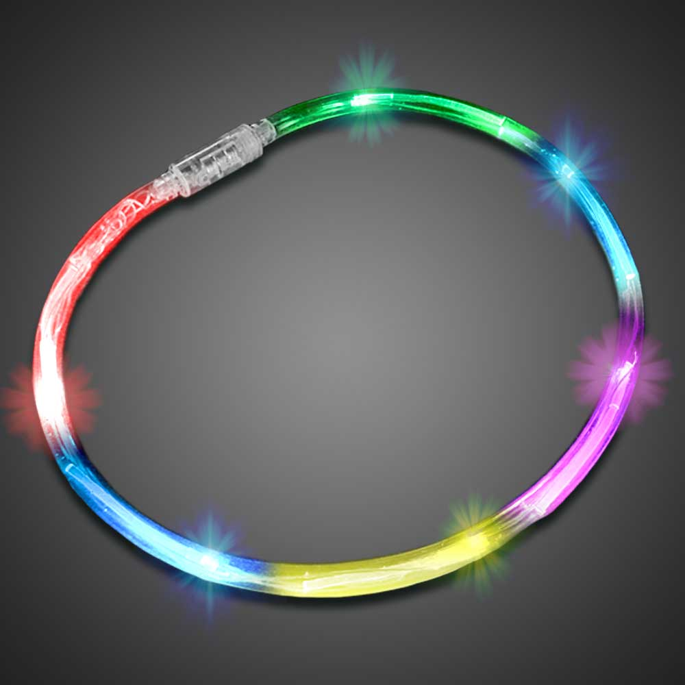 Flashing Rainbow Chaser Necklaces flashing LED necklace, flashing chaser necklace, light up necklace, chasing necklace, LED necklace, battery-operated necklace, necklace, charain, july 4th, vend, party, edc, edm, rave, festival, burning man, mardi gras, throw, halloween