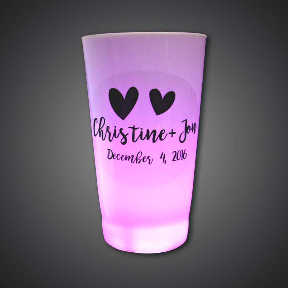 Customized 16-oz Lighted Glass  tumbler, customize, give away, birthday party, Lighted Glass, Lighted Cup, Flashing Glass, Light Up Glass, glow cup, led glow cup, led cup, flashing cup, glow glass, led glow glass, bar, dance, festival