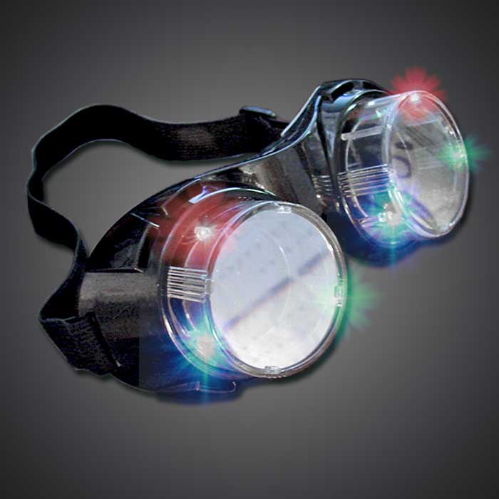 Light Up Goggles steam punk goggles, lighted goggles, light up goggles, LED goggles, lighted glasses, rave wear, rave gear, rave goggles, festival, steam punk, steampunk, minions, halloween, costume, burning man
