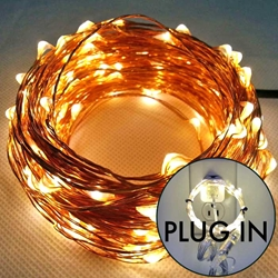8.5 to 49.5 ft Fairy Wire, 50 to 300 Warm White LEDs, Power Option: 110V Plug In Only copper wire string light, fairy lights, plug in lights, dew drop lights, long fairy lights, silver lights, copper lights