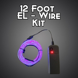 12 Foot EL Wire Kit cosplay, electroluminescent wire, cool neon, fluorescent wire, el wire, craft, costume, burning man, art