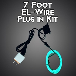 7-foot EL Wire Plug In Kit electroluminescent wire, cool neon, fluorescent wire, el wire, burning man, costume, custom, plug in wire, plug, wall plug