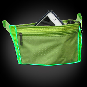 Electroluminescent Wire Fanny Pack in Green