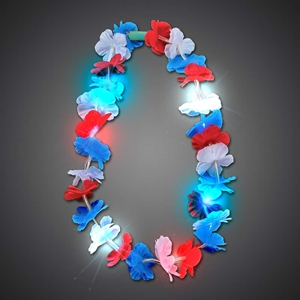 Flashing Red-White-Blue Flower Lei  Patriotic, July 4th, Hawaiian Lei, Flashing Lei, Lighted Lei, light-up lei, lighted necklace, flashing necklace, party necklace, light-up necklace, hawaii, luau, summer, july 4th, party, mitzvah, wedding