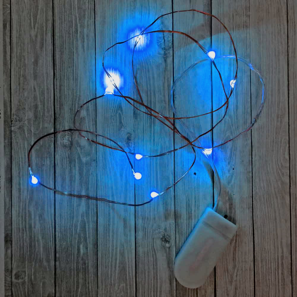 10 Blue Fairy Light Led S On Copper Wire With Replaceable